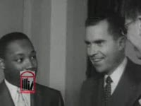 WSB-TV newsfilm clip of civil rights leaders Dr. Martin Luther King, Jr. and Ralph D. Abernathy meeting with vice president Richard M. Nixon and Secretary of Labor James P. Mitchell, Washington, D.C., 1957 June 13