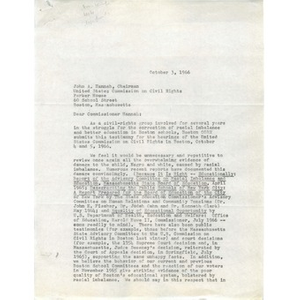 Letter to chairman of United States Commission on Civil Rights