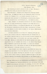 Biography of Capt. William H. Thompson, Capt. Charles Ecton, Capt. Joseph S. Lowe, Lieut. William W. Robinson, Robert E. Anderson, and Leroy H. Godman