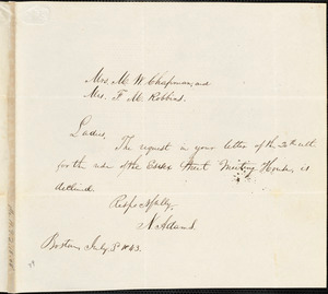 Letter from N. Adams, Boston, [Massachusetts], to Maria Weston Chapman, 1843 July 3