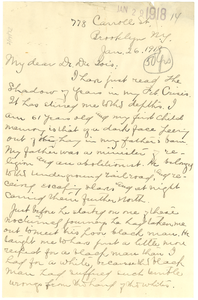 Letter from William M. Brundage to W. E. B. Du Bois