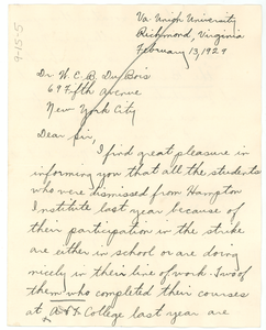 Letter from Robert A. Coles to W. E. B. Du Bois