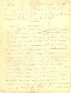 Memoir from W. E. B. Du Bois to Paul Hageman, Consul-General of Belgium to the United States of America