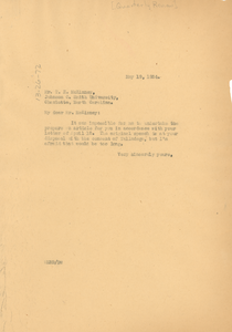Letter from W. E. B. Du Bois to Quarterly Review of Higher Education Among Negroes