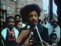 WSB-TV newsfilm clip of Jesse Jackson talking about the civil rights movement's change in tactics, West Hunter Street Baptist Church, Atlanta, Georgia, 1973 March 4