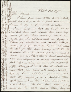 Letter from James Miller M'Kim, Phil[adelphi]a, [Penn.], to Maria Weston Chapman, Oct. 17 / [18]43