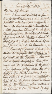 Letter from George Thompson, London, [England], to Mary Anne Estlin, 1855 July 16