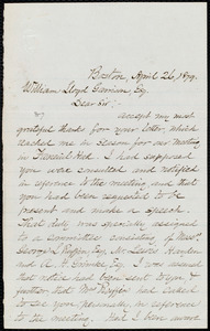 Letter from Robert Morris, Boston, [Mass.], to William Lloyd Garrison, April 26, 1879
