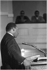 Martin Luther King, Jr., speaking to a crowd at Tabernacle Baptist Church in Selma, Alabama