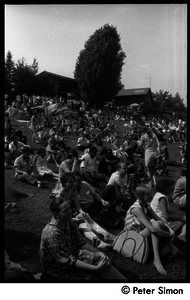 Concert goers on the lawn at Jackie Robinson's summer jazz concert
