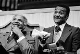 Ossie Davis and Fred Shuttlesworth at a tribute program honoring Shuttlesworth at the 16th Street Baptist Church in Birmingham, Alabama.