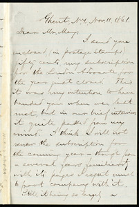 Letter from Aaron Macy Powell, Ghent, N.Y, to Samuel May, Nov. 11, 1861