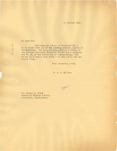Letter from W. E. B. Du Bois to Thomas E. Drake