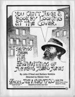 """""""You Can't Judge a Book By Looking at the Cover: Sayings from the Life and Writings of Junebug Jabbo Jones,"""" by John O'Neal and Barbara Watkins, flyer advertising the performance at 7 Stage Theatre, Atlanta, Georgia, January 17 - 20, 1985. (2-sided flyer)"""
