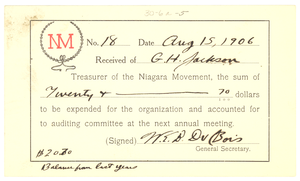 Niagara Movement Receipt No. 18