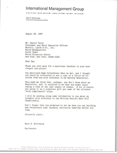 Letter from Mark H. McCormack to Daniel Tully