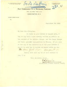 Letter from Edouard Réquin to Mary White Ovington