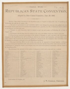Call for Republican state convention, adopted by State Central Committee, June 28, 1881.