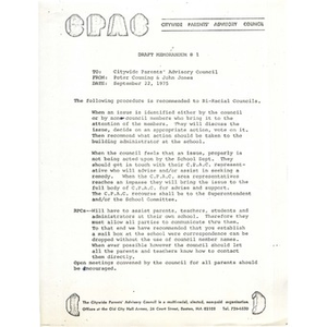 Citywide Parents' Advisory Council memo, September 22, 1975