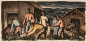 Underground Railroad (sketch for mural, Dolgeville, New York, Post Office)