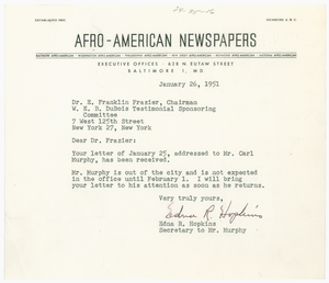 Letter from Afro-American Newspapers to Du Bois Testimonial Sponsoring Committee