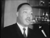 WSB-TV newsfilm clip of Dr. Martin Luther King, Jr. speaking about ongoing discrimination and the benefits of nonviolence, Atlanta, Georgia, 1965 November 10