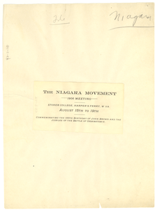 Niagara Movement 1906 Meeting Announcement