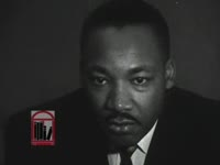 WSB-TV newsfilm clip of Dr. Martin Luther King, Jr. responding to a question regarding the African American use of the principle of nonviolence, 1963 June