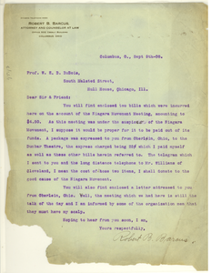 Letter from Robert B. Barcus to W. E. B. Du Bois