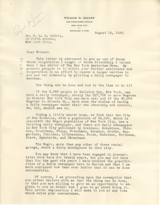 Letter from William M. Kelley to W. E. B. Du Bois