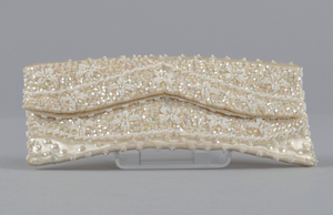 Ivory satin clutch with sequins and beading from Mae's Millinery Shop