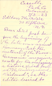 Letter from S. Emma Snyder to W. E. B. Du Bois