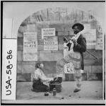 """[Stereoview of a scene from a minstrel show entitled """"Whilte Slave,"""" United States, ca. 1859]"""