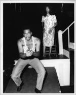 "Victor Thomas and June Reddington performing in ""What Drove Mollie Mad?"" at 7 Stages Theatre, Atlanta, Georgia, July 24 - August 16, 1986"