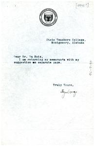 Note from Akiki Nyabongo to W. E. B. Du Bois