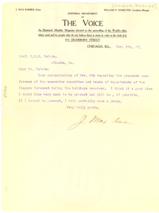 Letter from J. Max Barber to W. E. B. Du Bois