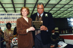 County Librarian and James Earl Jones Hold Plaque