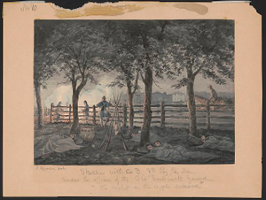 """Sketches with Co. B, 8th Reg. Pa. Ma. under the officers of the old """"Southwark Gaurd [sic] """"the night in the apple orchard"""""""