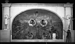 [Stage with large piece of scenery of arch over a river with actors in posed scenes, possibly at Dunbar High School, ca 1930-1940 : acetate film photonegative, banquet camera format.]
