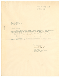 Letter from Second Ward High School to W. E. B. Du Bois
