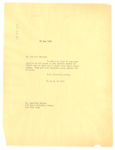 Letter from W. E. B. Du Bois to Langston Hughes