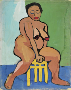 Female Nude on Yellow Stool