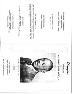 Program for the Funeral of Mr. Symiel Tyler Nero, Sr
