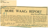 More WAACs report; Population grows - also piccolo players; Tribune (Des Moines, Iowa); Women's military activity