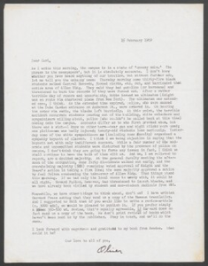 Carl Anderson letters, February 15, 1969 and March 10, 1969
