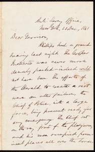 Letter from Oliver Johnson, New York, [N.Y.], to William Lloyd Garrison, 20 Dec[ember], 1861