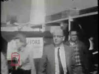 WSB-TV newsfilm clip of Lester Maddox pushing African Americans away from his cafeteria with an ax handle, Atlanta, Georgia, 1965 January 29