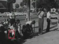 WSB-TV newsfilm clip of African American students holding a kneel-in at city hall in Albany, Georgia, 1962 July 27