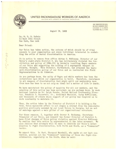 Letter from United Packinghouse Workers of America to W. E. B. Du Bois