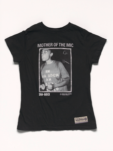 Black t-shirt with a photograph of MC Sha-Rock owned by MC Lyte